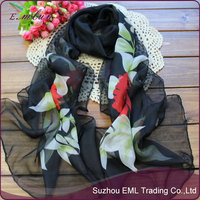Factory Wholesale Silk Touch Chiffon Floral Scarf / Silk Touch Shawls