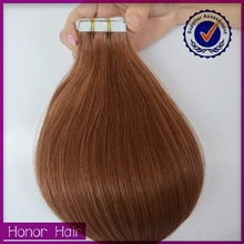 Top selling high quality brown color 40pieces tape in hair extension factory wholesale