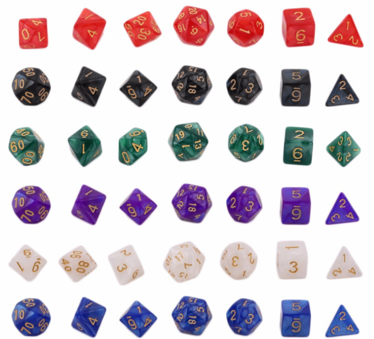 New 7pc/lot dice set High quality Multi-Sided Dice with marble effect d4 d6 d8 <strong>d10</strong> <strong>d10</strong> d12 d20 Miniature Polyhedral Mini Single