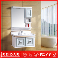 high gloss painting soft closer 3D effect PVC bathroom cabinet