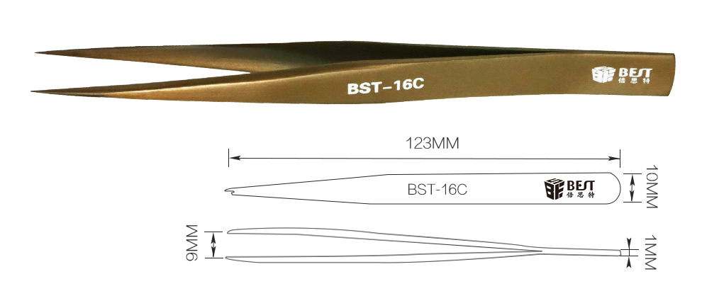 BST Professional Stainless Steel Angle Curved Straight Tweezers for Eyelashes Extension
