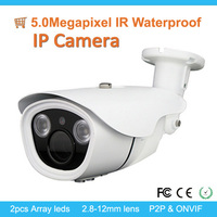 Top Sell H.265 5.0 R Waterproof Digital Outdoor Camera With 2pcs array ledsMegapixel 50m I