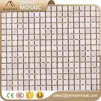 15x15 mm Light Travertine Floor And Wall Tile Mosaic Stepping Stone Patterns