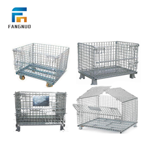 Folding steel wire mesh container metal pallet cage