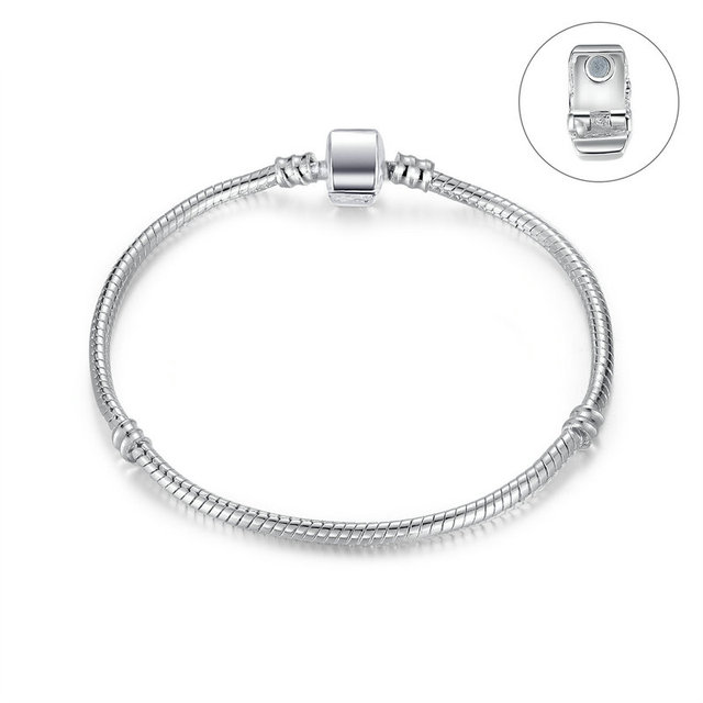 VOROCO High Quality Wholesale Silver Plated Basic Snake Chain Magnet Clasp Bracelets Compatible with Original Pan Bracelet P9010