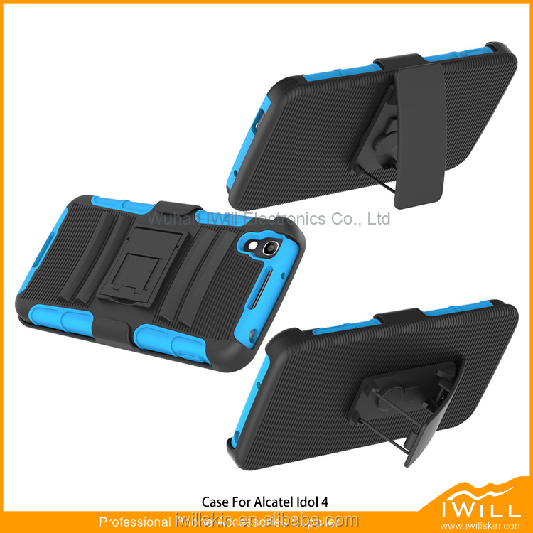 Combo Kickstand Mobile Phone Case Cover Armor Holder Belt Clip Phone Case for Alcatel Idol 4 Nitro 4