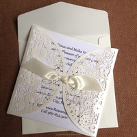2015 Popular Ideal Products White Elegant Invitation for Wedding Folded Laser