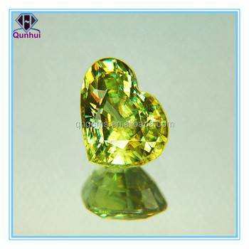 lustrous chartreuse heart shaped gemstone jewelry