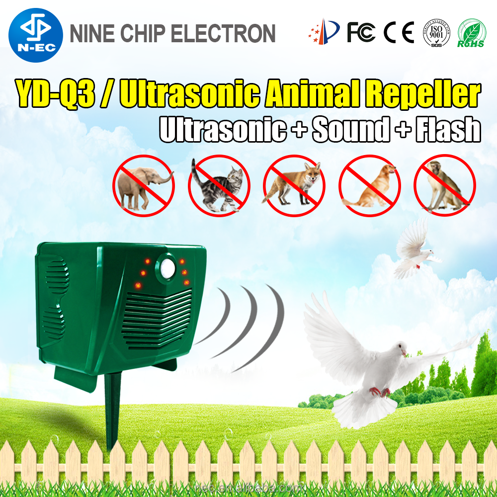 Excellent ultrasonic bird repellent product with solar power bird control device for drive bird