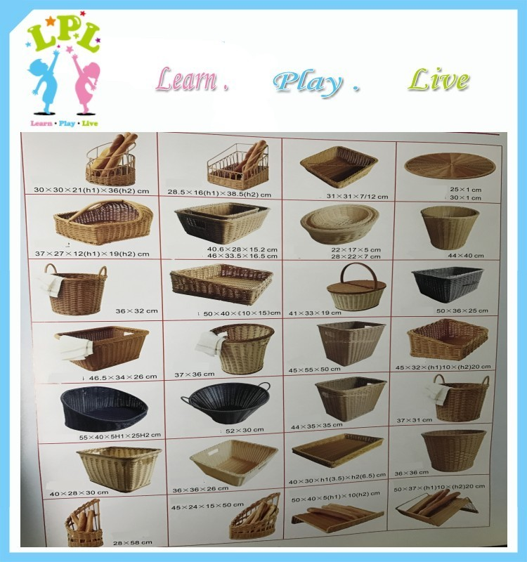 Factory supplier PP material Hand Woven brown color Synthetic Wicker storage basket