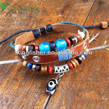 Strong national flavor porcelain eye bead bracelet multi rope leather wrist band wholesale