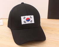 Solid color metal buckle back baseball caps Embroidered korean flag hat Cotton golf baseball cap