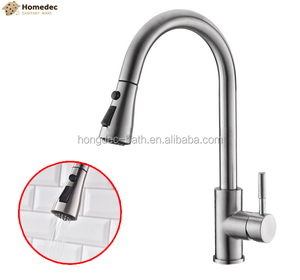 Single Handle High UPC Pull down Kitchen Faucet Brushed nickel