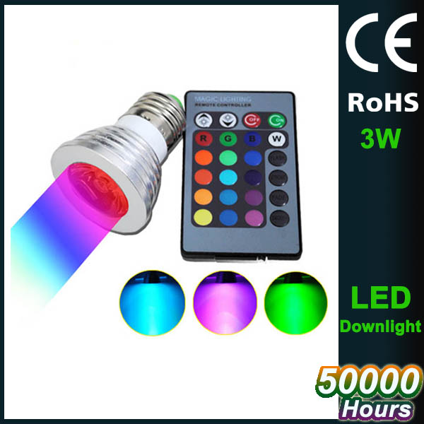 3W LED RGB Bulb 16 Colors LED Spot lights RGB led party light ac85-265v E27 GU10 MR16 led rgb remote control