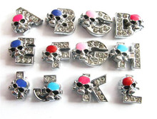 wholesale alibaba fashion jewelry metal 8mm death's-head slide letters alphabet slide charms accessory