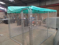 3m*3m*1.8m galvanized outdoor large dog kennel with roof and door