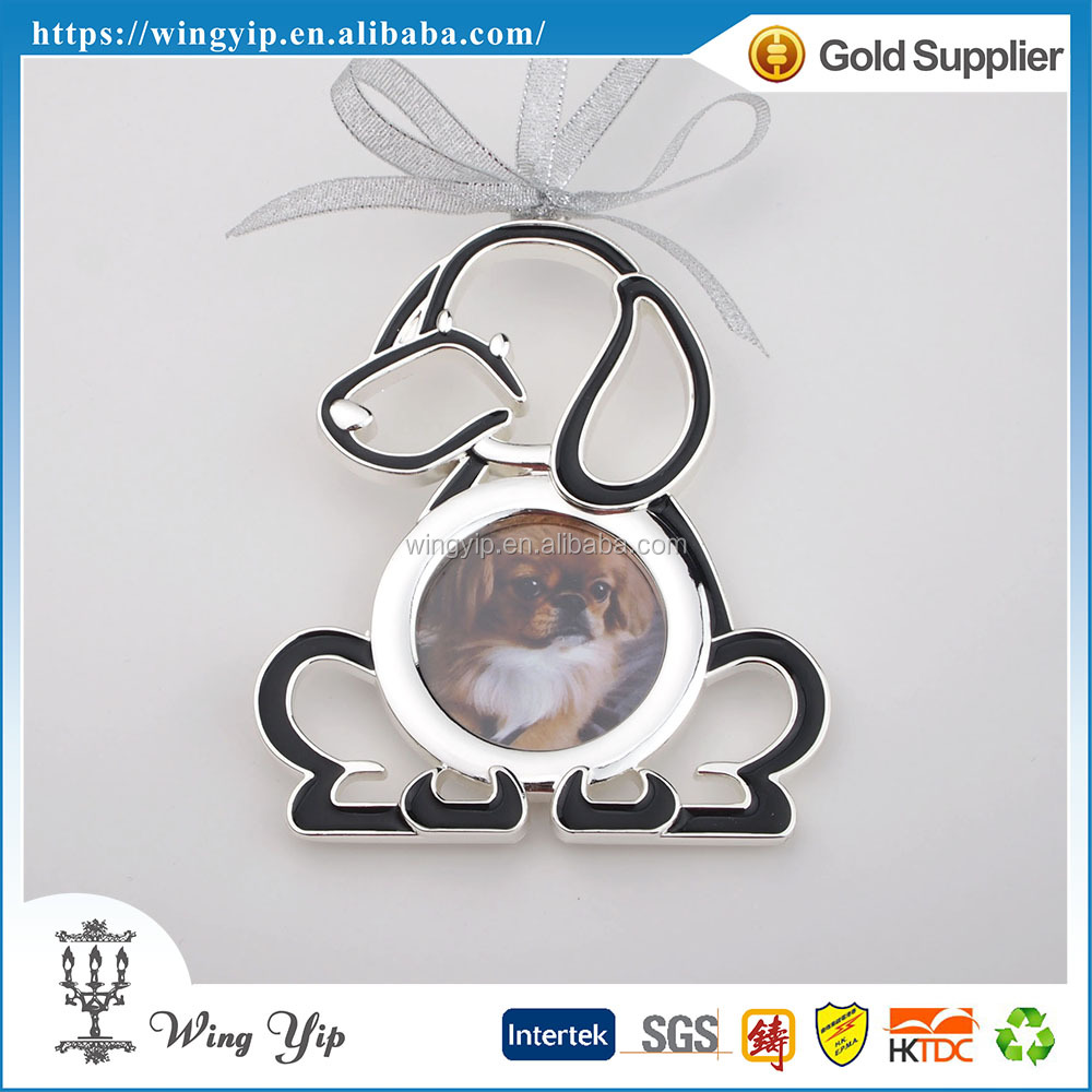 Tailor made good quality Dog Shape Colorful Zinc alloy metal X'mas hanging for Ornament
