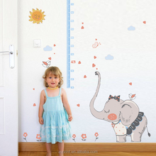 SK9168 The cartoon Shy little elephant children's height growth chart wall sticker DIY decorative kids room wall decal