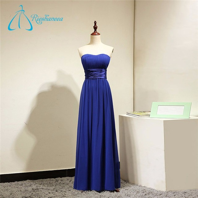 Sashes Pleat Chiffon Long Royal Blue Bridesmaid Dress Patterns