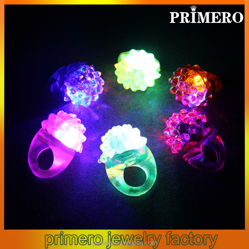 PRIMERO multicolour flash bracelet neon stick electronic led glow rings Blinking light rubber jelly ring
