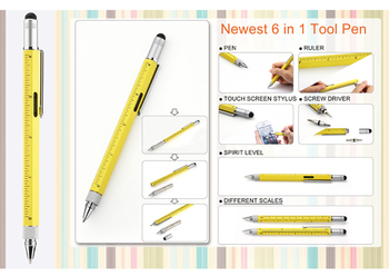 6 in1 multi-function pen tool with ballpen+ruler+leveler+screw driver+touch pen