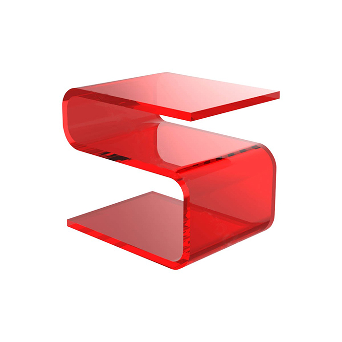Curve S Shaped Red Acrylic Side Table Plexiglass Coffee Table