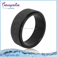 Men's 316 l stainless steel black fashion sandblasting movable ring