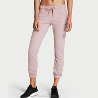 High quality 100% cotton solid color women capri leggings