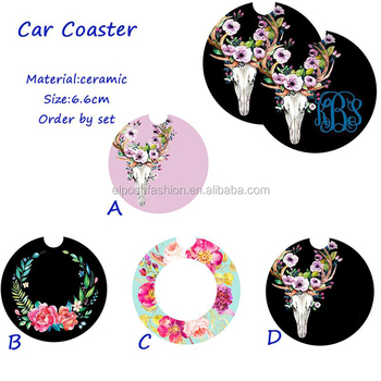 Wholesale Personalized Monogram Foral Skull Car Coaster