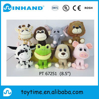 Sedex audit 22cm lovely plush soft animals toys,cattle,frog,pig,monkey,dog