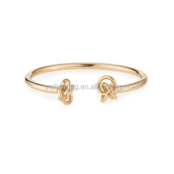 Stainless Steel DOUBLE KNOT CUFF, Rose Gold Bangle For Women