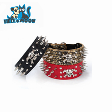 Wholesale Luxury Leather Hardware Metal Buckle Spiked Hundting Dog Collar