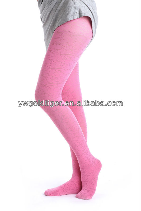 Pantyhose Custom Stocking Manufacturer leggings Wholesale pink Shiny High Waisted Stretchy Disco Dance Jacquard rose tights