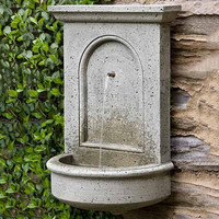 Stone yard water feature art limestone outdoor decor wall hanging water fountain