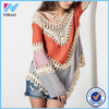 Dongguan Yihao 2015 Summer New Designs Multicolor V Neck Lace Crochet Kimono Tops Loose Long Sleeve Blouses For Women