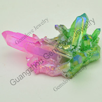 GXL-AD-031 Wholesale Natural Aura Cluster Quartz Raw Stone Electroplating Watermelon Quartz