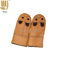 Genuine Fur Gloves Kids Sheepskin Mittens Real Fur Sheep Leather Gloves Winter Solid Warm True sheepskin Gloves