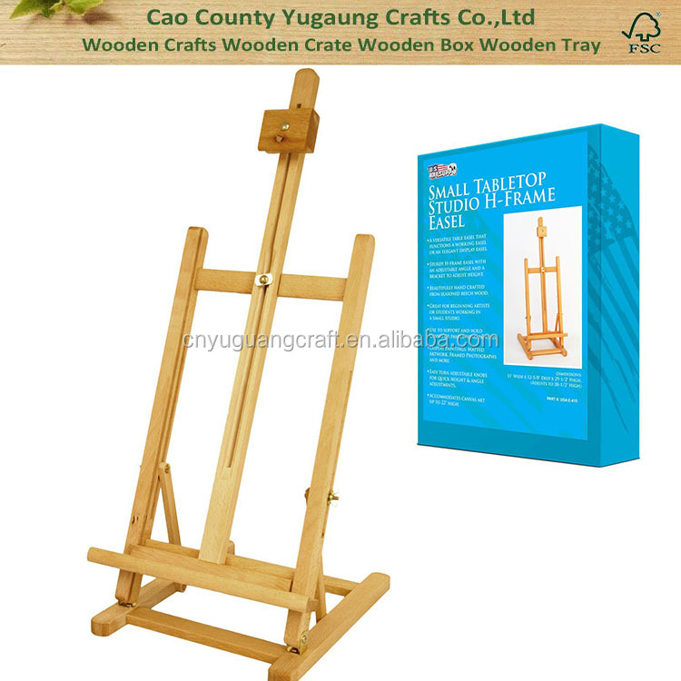 Large Tabletop Adjustable H-Frame Wood Studio Artist Easel for sale