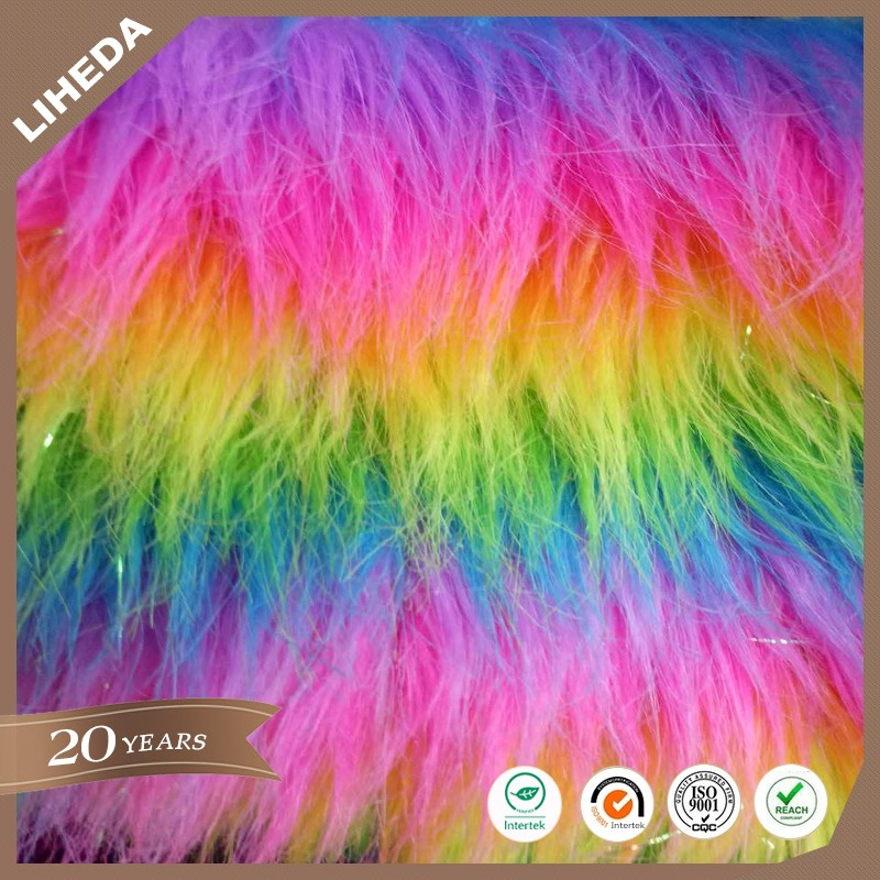 High quality jacquard rainbow fake fur long pile faux fur
