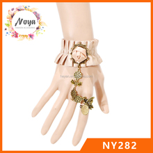 Peach Lace Lolita Wrist Cuffs Bracelet with Satin Ribbon Decoration