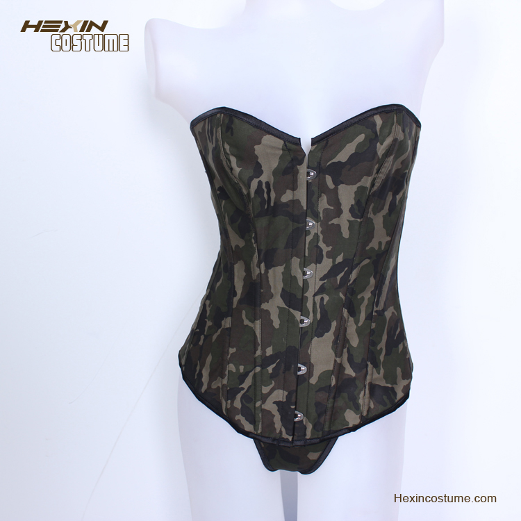 Sexy Cool Mature Camouflage Army Overbust Plus Size Cheap Waist Training Corsets
