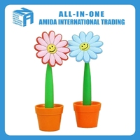2015 high quality creative sunflower flowerpot modelling ballpoint pen