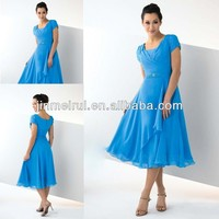 Modest ice blue short sleeve chiffon tea length beaded cocktail dress JCD010