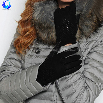 Nude ladies black suede back sheepskin leather palm winter gloves