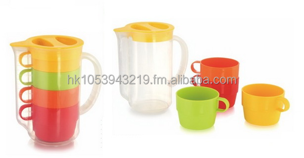 Plastic pitcher and stacking cups
