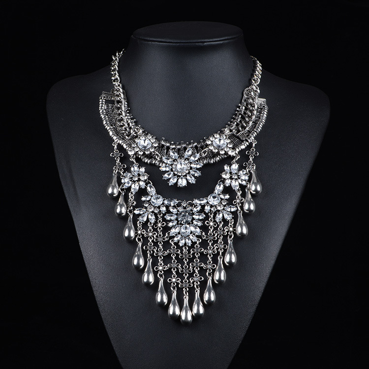 women costume alloy necklace latest design big costume jewelry necklaces women beautiful alloy rhinestone necklace