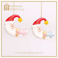 Baby Shower Figurines Sleeping Baby with Santa Hat Moon Resin Baby Product