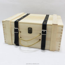 Best selling antique unfinished natural color New Design leather wooden wine box