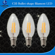 candle e14 led clear glass/amber/frosted/milky led light bulb led e14 filament dimmbar 6w