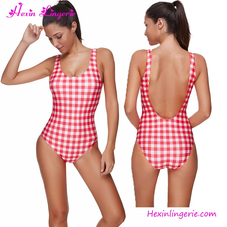 2017 Mature Ladies Red Lattice Swimwear Hot Girl Sxe Photo Bikini Swimsuit